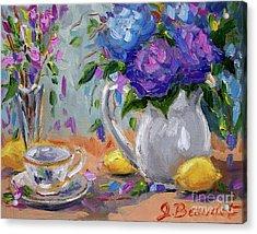 Acrylic Print featuring the painting Flowers Lemons by Jennifer Beaudet