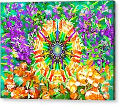 Acrylic Print featuring the painting Flowers Mandala by Hidden Mountain