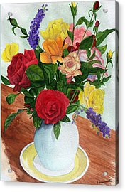 Flowers On A Cat Dish Acrylic Print by Robert Thomaston