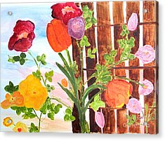 Acrylic Print featuring the painting Flowers On A Fence by Sandy McIntire