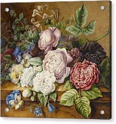 Flowers On A Ledge Acrylic Print by Ernestine Panckoucke