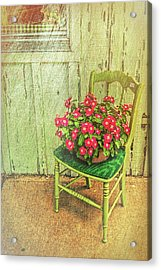 Acrylic Print featuring the photograph Flowers On Green Chair by Lewis Mann