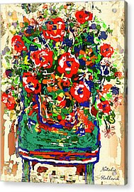 Flowers On Green Chair Acrylic Print by Natalie Holland