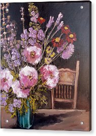 Flowers On The Kitchen Table Acrylic Print by Juliet Mevi