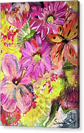 Flowers Painting Acrylic Print by Oksana Semenchenko
