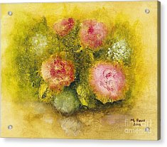 Acrylic Print featuring the painting Flowers Pink by Marlene Book