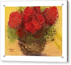 Acrylic Print featuring the mixed media Flowers Red by Marlene Book