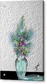 Acrylic Print featuring the digital art Flowers Study Two by Darren Cannell