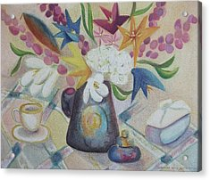 flowers Tin Vase and Tea Cup  Acrylic Print by Suzanne  Marie Leclair