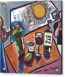 Flowers Wine N Sunshine Acrylic Print by Albert Almondia