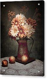 Flowers With Peaches Still Life Acrylic Print by Tom Mc Nemar