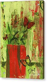Acrylic Print featuring the mixed media Flowers,butteriflies, And Vase by P J Lewis