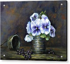 Acrylic Print featuring the painting Flowers,pansies Still Life by Katalin Luczay