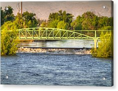 Flowing Kern River Walk And Bridge Acrylic Print