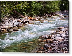 Flowing Mountain Rivers Landscape Art By Omashte Acrylic Print by Omaste Witkowski