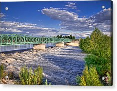Flowing River And Bridge Acrylic Print