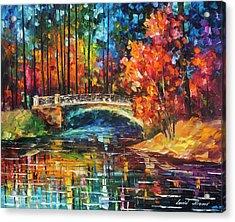 Flowing Under The Bridge  Acrylic Print by Leonid Afremov