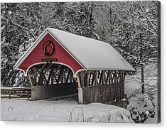 Flume Covered Bridge In Winter Acrylic Print