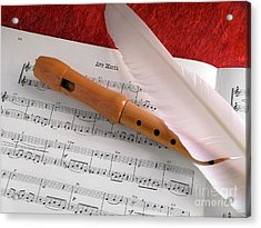 Flute And Feather Acrylic Print by Carlos Caetano