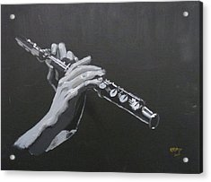 Acrylic Print featuring the painting Flute Hands by Richard Le Page