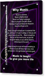 Flute Why Music Photographs Or Pictures For T-shirts 4824.02 Acrylic Print by M K  Miller