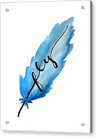 Fly Blue Feather Vertical Acrylic Print by Michelle Eshleman