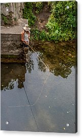 Fly Fisher Gal Acrylic Print