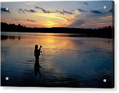 Fly-fisherman Silhouetted By Sunrise Acrylic Print by Panoramic Images