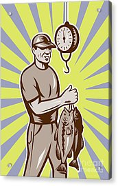 Fly Fisherman Weighing In Fish Catch  Acrylic Print by Aloysius Patrimonio