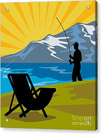 Fly Fishing Acrylic Print by Aloysius Patrimonio