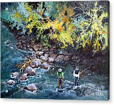Acrylic Print featuring the painting Fly Fishing by Linda Shackelford