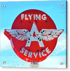 Flying A Service Sign Acrylic Print by Joan Reese