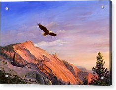 Flying American Bald Eagle Mountain Landscape Painting - American West - Western Decor - Bird Art Acrylic Print by Walt Curlee