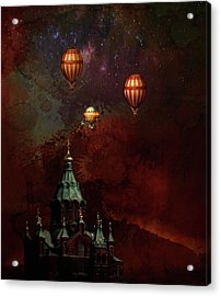 Acrylic Print featuring the digital art Flying Balloons Over Stockholm by Jeff Burgess