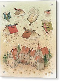 Flying Books Acrylic Print by Kestutis Kasparavicius