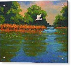 Langan Lake Heron II Acrylic Print