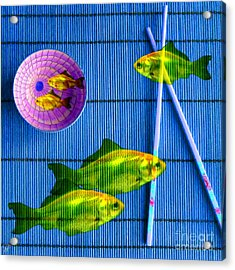 Flying Fish And The Pink Moon Acrylic Print