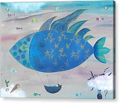 Flying Fish In Sea Of Clouds With Sleeping Child Acrylic Print