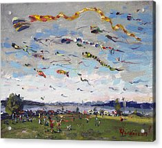 Flying Kites Over Gratwick Park Acrylic Print