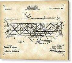 Flying Machine Patent 1903 - Vintage Acrylic Print by Stephen Younts