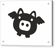 Flying Pig - Black Acrylic Print