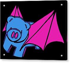 Flying Piggy On Black Acrylic Print by Jera Sky