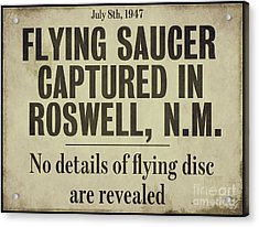 Flying Saucer Roswell Newspaper Acrylic Print by Mindy Sommers