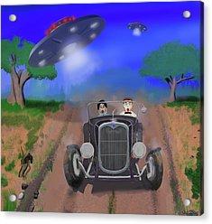 Flying Saucers Attack Teenage Hot Rodders Acrylic Print by Ken Morris