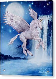Flying Unicorn Acrylic Print by Smilin Eyes  Treasures