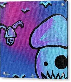 Flying Zombie Mushroom Attack Acrylic Print by Jera Sky