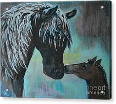 Acrylic Print featuring the painting Foal Kiss by Leslie Allen