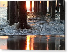 Acrylic Print featuring the photograph Foamy Waters Under The Pier by Robert Banach