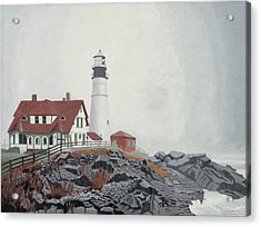 Fog Approaching Portland Head Light Acrylic Print