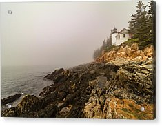 Acrylic Print featuring the photograph Fog At Bass Harbor Lighthouse by Jeff Folger